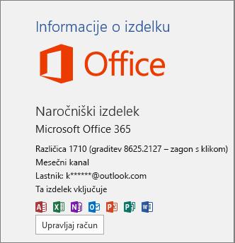 Redna gradnja sistema Office 365