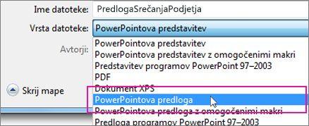 Shranjevanje PowerPointove predloge