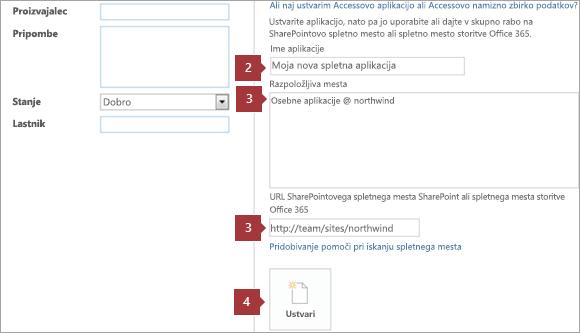 Nov dostop web app ustvarjanja zaslon