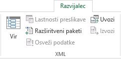 Ukazi XML na zavihku »Razvijalec«
