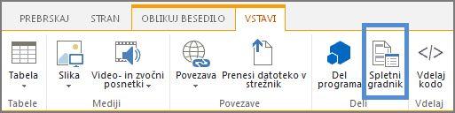 Vstavljanje spletnega gradnika