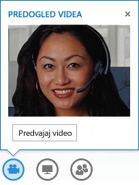 Posnetek zaslona začetka videa v neposrednem sporočilu