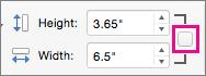 Je označena počiščeno polje Zakleni razmerje višina / širina