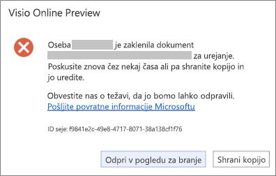 Sporočilo o zaklenjeni datoteki