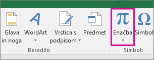 Gumb »Enačba« na traku programa Excel 2016