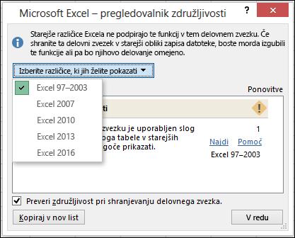 «Pogovorno okno» preverjevalnik združljivosti za Excel
