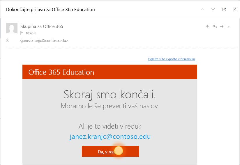 Posnetek končnega zaslona za preverjanje za vpis v Office 365.