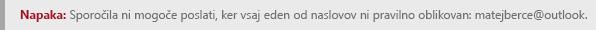 Posnetek zaslona, ki prikazuje napako pri oblikovanju naslova na spletnem mestu Outlook.com.