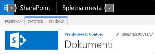 Zgornji levi kot zaslona v programu SharePoint 2016 s prikazanim zaganjalnikom aplikacij in naslovom