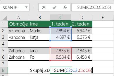 Uporaba funkcije SUM z nezveznimi obsegi.  Formula v celici C8 je = SUM(C2:C3,C5:C6). Uporabili bi lahko tudi imenovane obsege, da bi bila formula =SUM(Teden1,Teden2).
