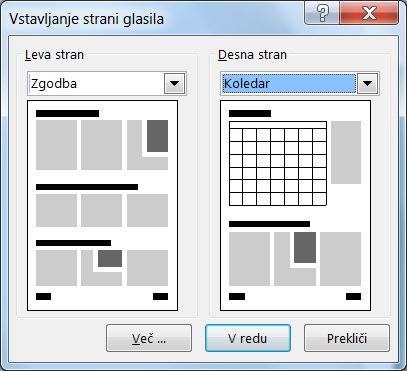 Dodajanje novih strani v glasilo s pogovornim oknom »Vstavljanje strani glasila«.
