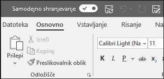 Tipka za preklapljanje samodejnega shranjevanja v Officeu