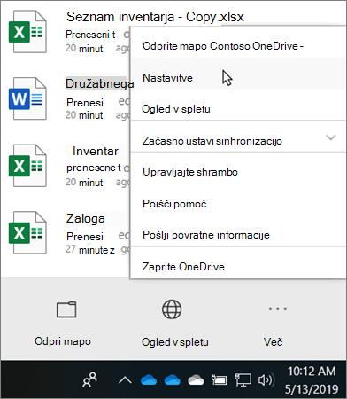 Meni središča za dejavnosti, ki se prikaže, ko kliknete ikono za izobraževanje OneDrive