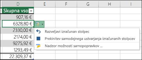 Možnost za razveljavljanje izračunanega stolpca, ko ste vnesli formulo