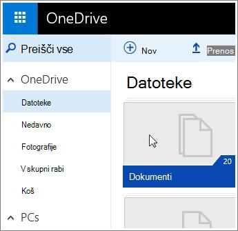 Posnetek zaslona z mapo »Dokumenti« v storitvi OneDrive.