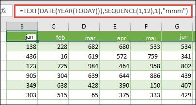 Uporaba kombinacije BESEDILnih, DATUMskih, letnih, DANAŠNJih in ZAPOREDNIH funkcij za ustvarjanje dinamičnega seznama 12 mesecev