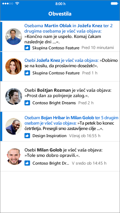 Obvestila v mobilni aplikaciji Outlook Groups