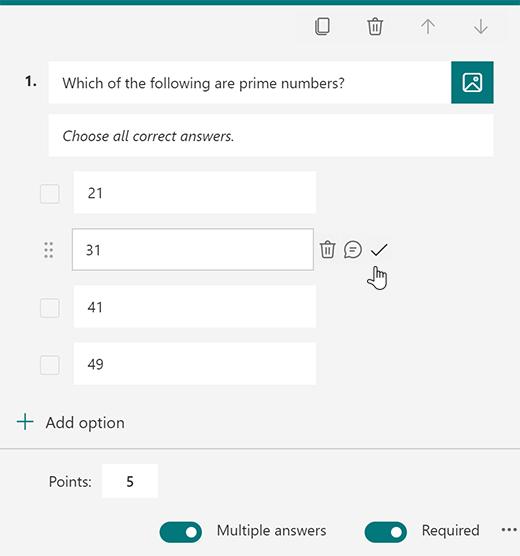 Možnost pravilnega odgovora za kviz v aplikaciji Microsoft Forms