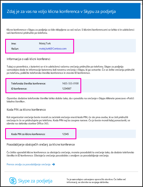 E-pošta klicnih konferenc