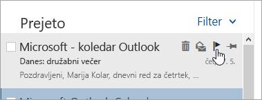 Posnetek zaslona možnosti zastavice na seznamu sporočil