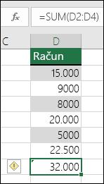 Excel prikaže napako, ko formula preskakuje celice v razponu