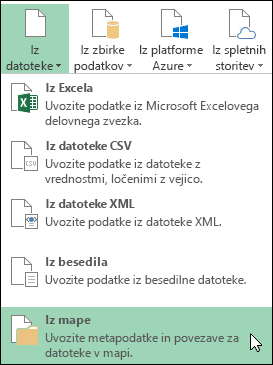 Možnosti Power Query > Iz datoteke > Iz mape