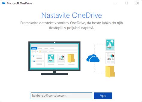 Zaslon za nastavitev storitve OneDrive