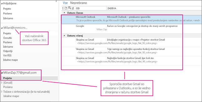 Ko dodate račun Gmail, bosta v Outlooku prikazana dva računa.
