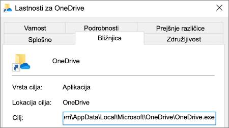Posnetek zaslona, kjer je prikazan meni z lastnostmi aplikacije OneDrive.