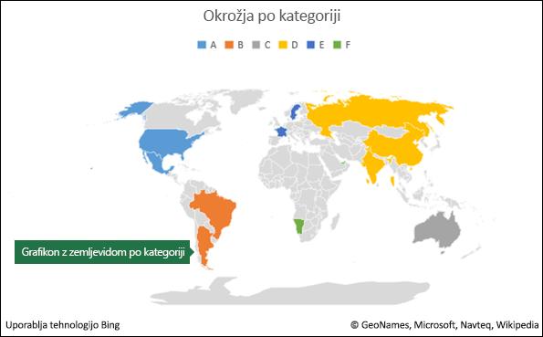 Excelov grafikon z zemljevidom po kategoriji