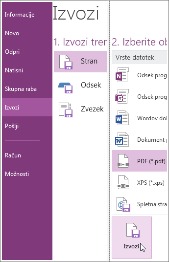 Zapiske lahko izvozite v več oblik zapisa, denimo v PDF, XPS ali v Wordov dokument.