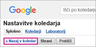 Googlov koledar – kliknite nazaj v koledar