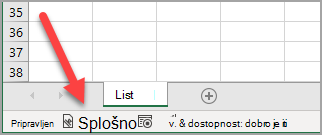 Excelova vrstica stanja, ki prikazuje» splošno «oznako občutljivosti, je bila uporabljena