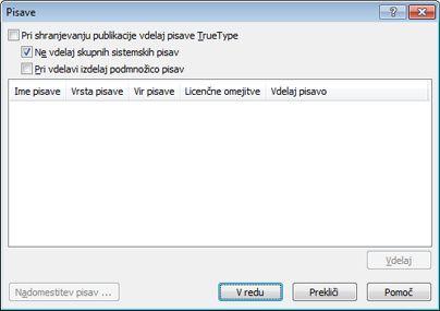 Upravljanje vdelanih pisav v programu Publisher 2010