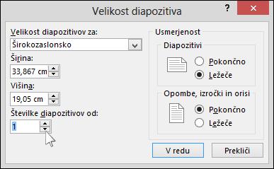 prikaže pogovorno okno velikosti diapozitiva v PowerPointu