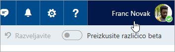 Posnetek zaslona gumba za profil slike