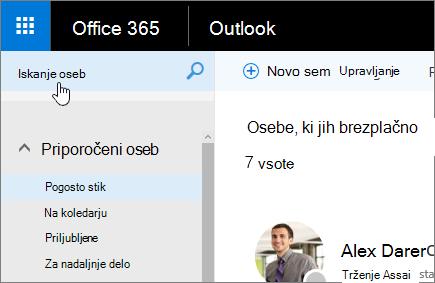 Posnetek zaslona oseb zaslon z izbranim poljem za iskanje oseb.