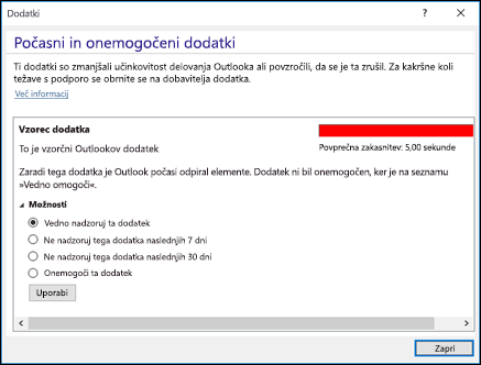 Onemogočanje dodatkov za Outlook