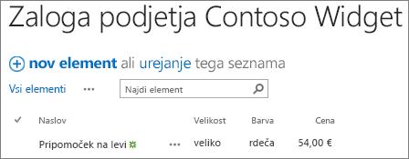 Ukazna vrstica za seznam v programu SharePoint 2016