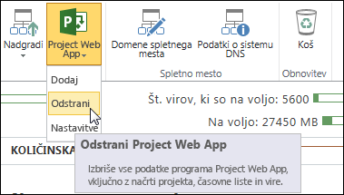 Na traku kliknite »Project Web App« in nato »Odstrani«.