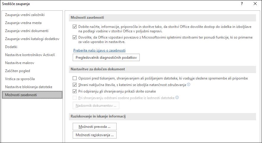 Možnosti zasebnosti središča zaupanja za Office