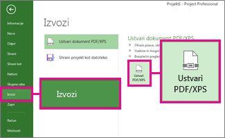 Slika gumba »Ustvari PDF/XPS«