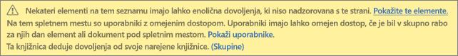 Slika, na kateri je prikazano sporočilo o enoličnih dovoljenjih za seznam ali knjižnico