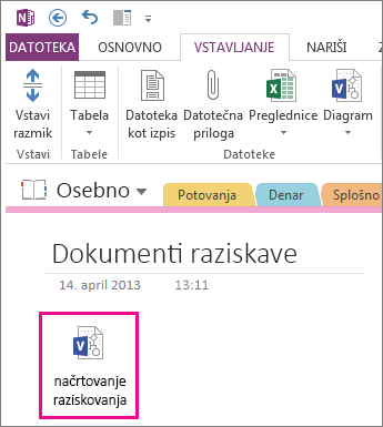 Vstavljanje ikone datoteke programa Visio na stran