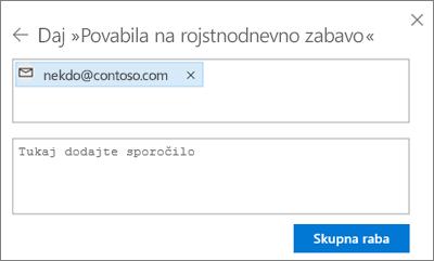 Posnetek zaslona, na katerem je prikazano pošiljanje povabila osebam, ko v pogovornem oknu »Skupna raba« izberete »E-pošta«