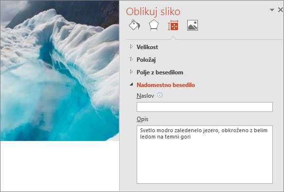 Nova slika ledeniškega jezera s pogovornim oknom »Oblikuj sliko«, ki v polju z opisom prikazuje izboljšano nadomestno besedilo.