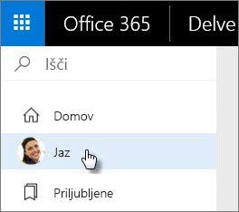 Izberite »Jaz« za dostop do strani z vašim profilom