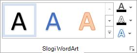 «Skupina» slogi WordArt
