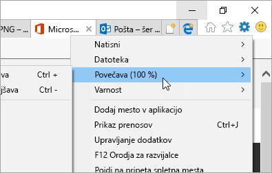 Posnetek zaslona menija »Orodja« v brskalniku Internet Explorer