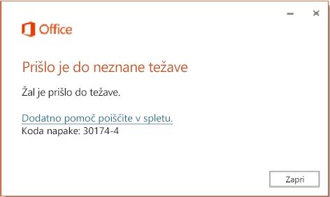 Pri namestitvi Officea se prikaže koda napake 30174-4